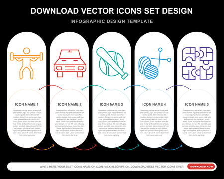 5 vector icons such as Weightlifting, Car, Baseball, Knitting, Puzzle for infographic, layout, annual report, pixel perfect icon