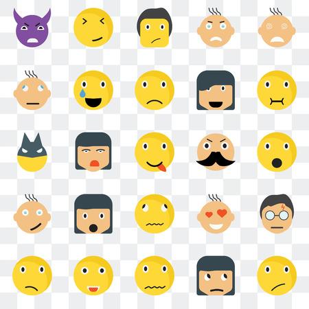 Conjunto de 25 iconos transparentes como sonrisa escéptica, paquete de iconos de transparencia de interfaz de usuario web de superhéroe de amor conmocionado enfermo débil confundido, pixel perfecto