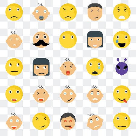 Set Of 25 transparent icons such as Sca smile, Alien Relieved Baby Joyful Rich Angry Thinking web UI transparency icon pack, pixel perfect