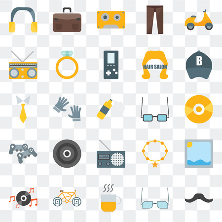 Set Of 25 transparent icons such as Hipster, Eyeglasses, Hot drinks, Bicycle, Long play, Baseball cap, Accesory, Radio, Gamepad, Music player, Briefcase, web UI transparency icon pack