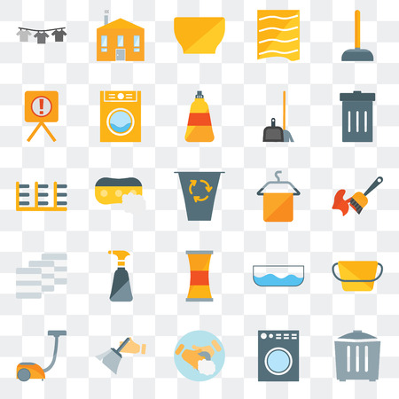 Set Of 25 transparent icons such as Garbage, Washing machine, Hand soap, Dusting, Vacuum, Towel, Cleaner, Towels, Warning, Bowl, House, web UI transparency icon pack