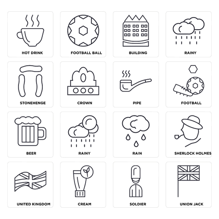 Set Of 16 icons such as Union jack, Soldier, Cream, United kingdom, Sherlock holmes, Hot drink, Stonehenge, Beer, Pipe, web UI editable icon pack, pixel perfect