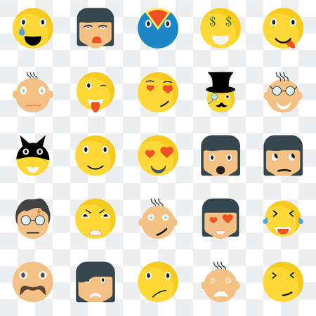 Set Of 25 transparent icons such as Faint smile, Sceptic Nerd Ti Hipster Wink In love Superhero web UI transparency icon pack, pixel perfect