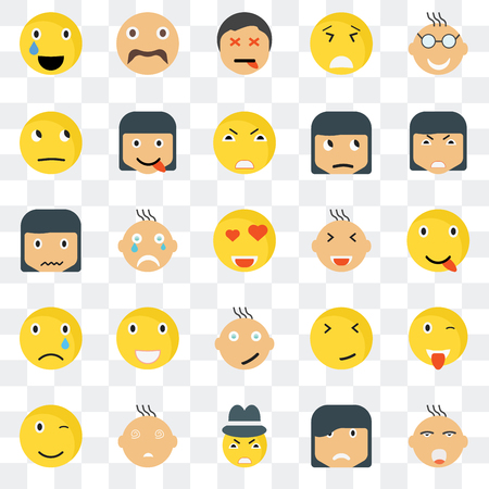 Set Of 25 transparent icons such as Ti smile, Happy Angry Hipster Winking Faint Sca web UI transparency icon pack, pixel perfect 일러스트