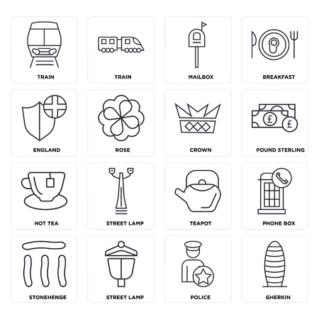 Set Of 16 icons such as Gherkin, Police, Street lamp, Stonehenge, Phone box, Train, England, Hot tea, Crown, web UI editable icon pack, pixel perfect