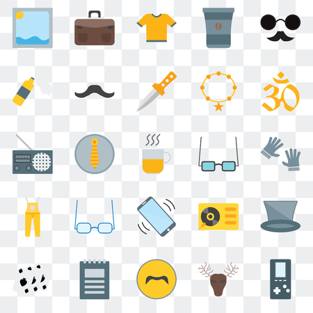 Set Of 25 transparent icons such as  Hunted, Mustache, Notepad, Leisure, Indian, Accesory, Phone call, Dungarees, Foam, Shirt, Briefcase, web UI transparency icon pack Stock Illustratie