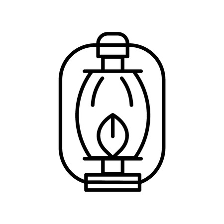Oil lamp icon vector isolated on white background, Oil lamp transparent sign , thin line design elements in outline style Ilustracja
