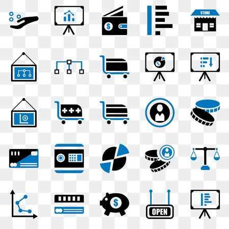 Set Of 25 transparent icons such as Presentation, Open, Piggy bank, Cit card, Graph, Coin, Pie chart, Wallet, web UI transparency icon pack