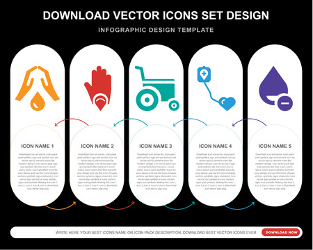 5 vector icons such as Blood, Wheelchair, Blood donation, for infographic, layout, annual report, pixel perfect icon Illustration