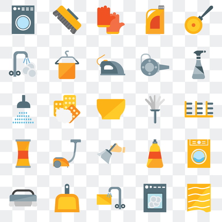 Set Of 25 transparent icons such as Drying, Dishwasher, Soak, Dustpan, Brush, Cleaning spray, Feather duster, Dusting, Cleaner, Washing plate, Gloves, web UI transparency icon pack Standard-Bild - 111888233