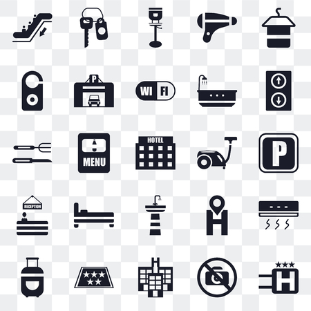 Set Of 25 transparent icons such as Hotel, No pictures, Five stars, Luggage, Elevator, Vacuum cleaner, Sink, Reception, Doorknob, Stool, Room key, web UI transparency icon pack Illustration