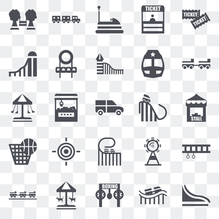 Set Of 25 transparent icons such as Slide, Roller coaster, Childhood, Merry go round, Ride, Amusement park, Punch, Bumper car, Sports ball, web UI transparency icon pack Stock Illustratie