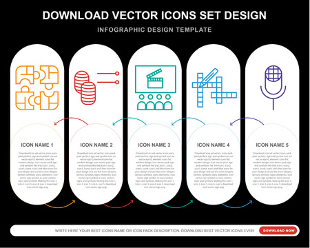5 vector icons such as Puzzle, Knitting, Cinema, Crossword, Karaoke for infographic, layout, annual report, pixel perfect icon