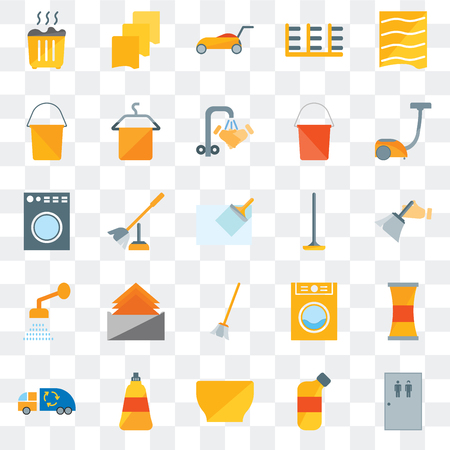 Set Of 25 transparent icons such as Toilet, Bleach, Bowl, Dish soap, Garbage truck, Vacuum, Wiper, Broom, Shower, Bucket, Lawn mower, Rag, web UI transparency icon pack