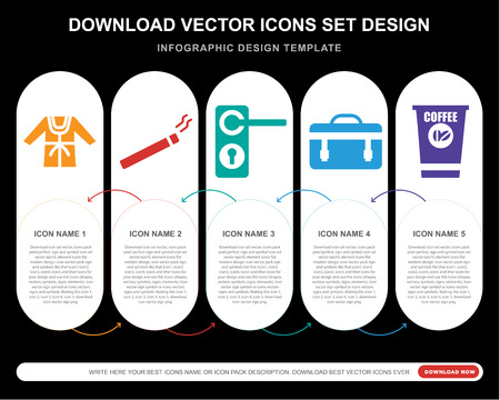 5 vector icons such as Bathrobe, Cigar, Doorknob, Suitcase, Coffee for infographic, layout, annual report, pixel perfect icon Illusztráció
