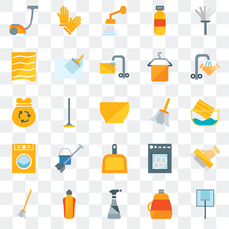 Set Of 25 transparent icons such as Glass cleaning, Softener, Cleaning spray, Dishwasher, Broom, Hand wash, Feather, Dustpan, Laundry, Drying, Shower, Gloves, web UI transparency icon pack