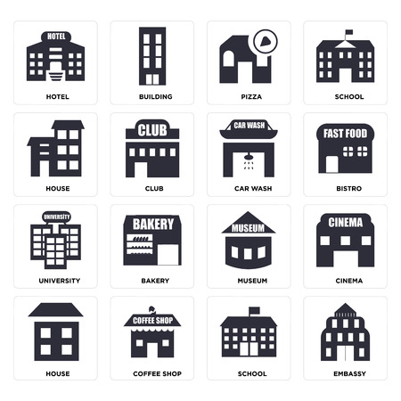 Set Of 16 icons such as Embassy, School, Coffee shop, House, Cinema, Hotel, University, Car wash, web UI editable icon pack, pixel perfect