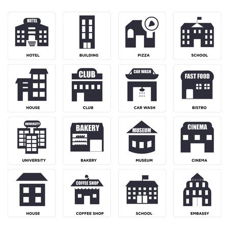 Set von 16 Symbolen wie Botschaft, Schule, Café, Haus, Kino, Hotel, Universität, Autowaschanlage, bearbeitbares Symbol für die Web-Benutzeroberfläche, Pixel perfekt Vektorgrafik