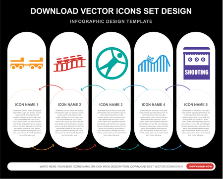 5 vector icons such as Amusement park, Roller coaster, Zorbing, DUNK, Shooting for infographic, layout, annual report, pixel perfect icon