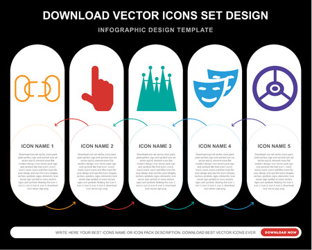 5 vector icons such as Disconnected chains, Finger up, Familia building, Comedy mask, Vehicle steering wheel for infographic, layout, annual report, pixel perfect icon