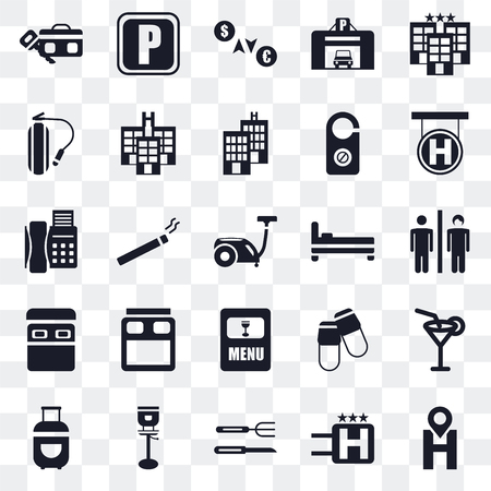 Set Of 25 transparent icons such as Location, Hotel, Cutlery, Stool, Luggage, Bed, Menu, Fire extinguisher, Exchange, Parking, web UI transparency icon pack