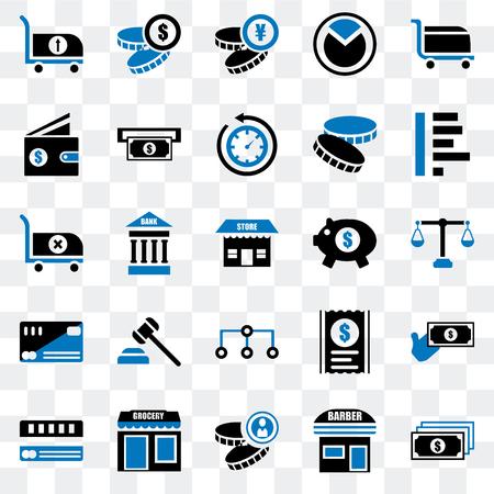 Set Of 25 transparent icons such as Notes, Barbershop, Coin, Grocery, Cit card, Graph, Piggy bank, Diagram, Wallet, Yen, web UI transparency icon pack Illusztráció
