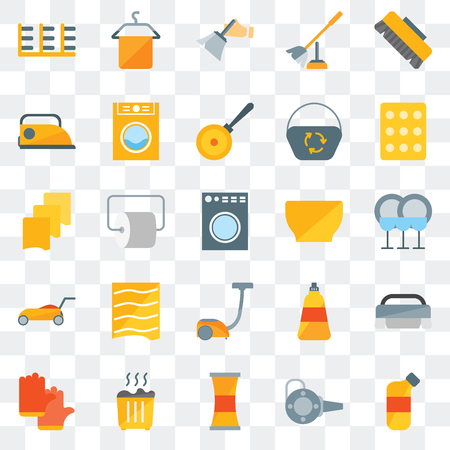 Set Of 25 transparent icons such as Bleach, Blower, Cleaner, Waste, Gloves, Sponge, Bowl, Vacuum, Lawn mower, Iron, Dusting, Towel, web UI transparency icon pack