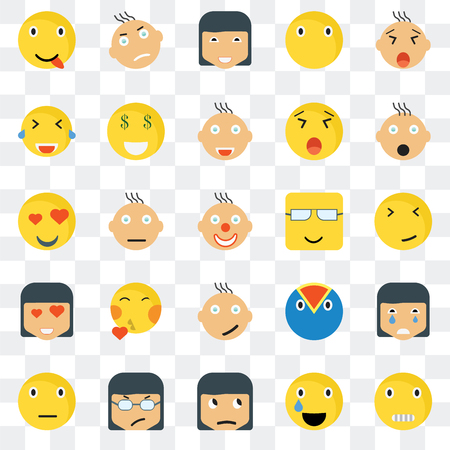 Set Of 25 transparent icons such as Creepy smile, Faint Shocked Angry Sceptic Rich Superhero In love web UI transparency icon pack, pixel perfect