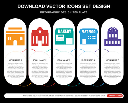 5 vector icons such as House, Police, Bakery, Bistro, Capitol for infographic, layout, annual report, pixel perfect icon