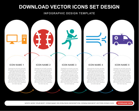 5 vector icons such as Full computer, Baseball ball, Running at finish, Wind swirls, Ambulance Alert for infographic, layout, annual report, pixel perfect icon Illustration