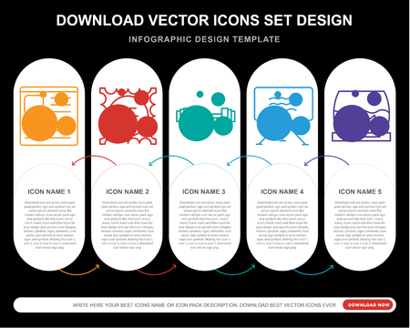 5 vector icons such as Blog, Stamp, Weight, Canvas, Fish bowl for infographic, layout, annual report, pixel perfect icon