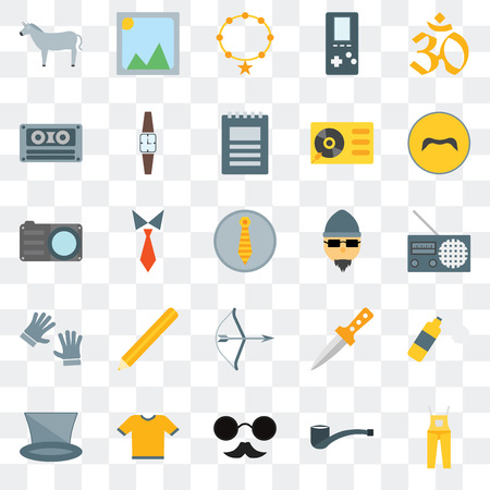 Set Of 25 transparent icons such as Dungarees, Accesory, Hipster, Shirt, Mustache, Archery, Cassette, Picture, web UI transparency icon pack