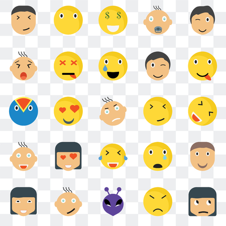 Set Of 25 transparent icons such as Sceptic smile, Happy Silent Dead Sad Superhero web UI transparency icon pack, pixel perfect Illustration
