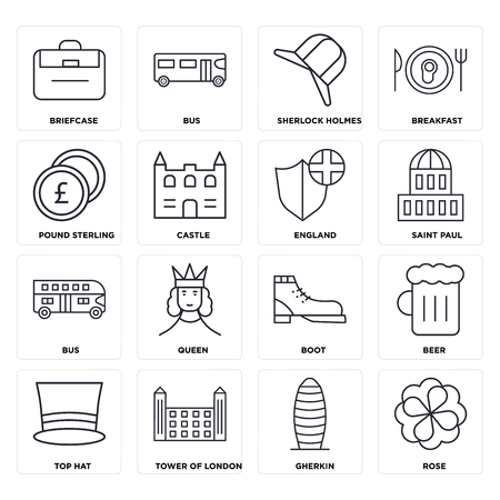 Set Of 16 icons such as Rose, Gherkin, Tower of london, Top hat, Beer, Briefcase, Pound sterling, Bus, England, web UI editable icon pack, pixel perfect