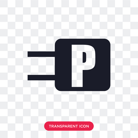 Parking vector icon isolated on transparent background, Parking logo concept Çizim