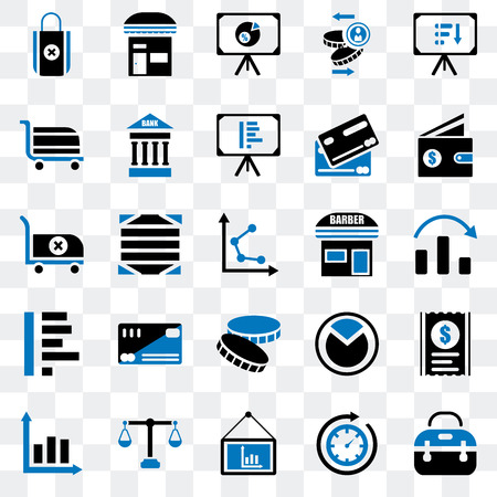 Set Of 25 transparent icons such as Briefcase, Time passing, Presentation, Justice scale, Graph, Wallet, Barbershop, Coin, Cart, Store, web UI transparency icon pack Illusztráció