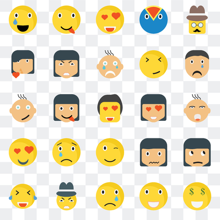 Set Of 25 transparent icons such as Rich smile, Ti Crying Happy Laughing Angry Sca web UI transparency icon pack, pixel perfect