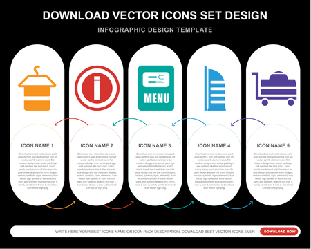 5 vector icons such as Towel, Information, Menu,   al arab, Room service for infographic, layout, annual report, pixel perfect icon