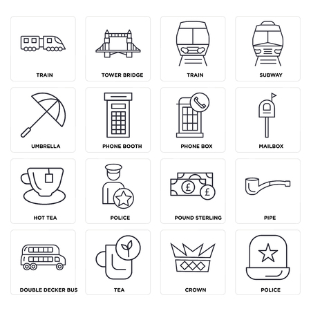 Set Of 16 icons such as Police, Crown, Tea, Double decker bus, Pipe, Train, Umbrella, Hot tea, Phone box, web UI editable icon pack, pixel perfect