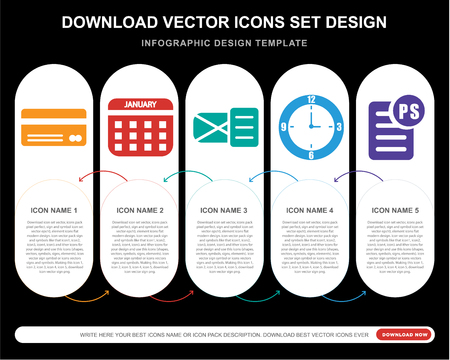 5 vector icons such as Cit card, Calendar, , Clock, PS for infographic, layout, annual report, pixel perfect icon Illusztráció