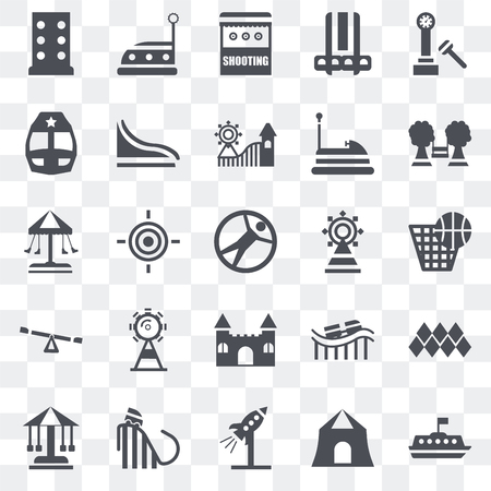 Set Of 25 transparent icons such as Tea cup, Shooting, Rocket, Ride, Sailing boat, Playground, Fair, Castle, Childhood, Train, Bumper car, web UI transparency icon pack