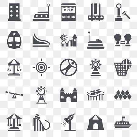Ensemble de 25 icônes transparentes telles que tasse à thé, tir, fusée, tour, bateau à voile, aire de jeux, juste, château, enfance, train, auto tamponneuse, pack d'icônes de transparence de l'interface utilisateur web Vecteurs