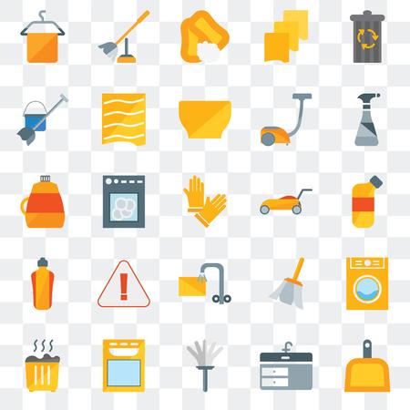 Ensemble de 25 icônes transparentes telles que pelle à poussière, évier, plumeau, lave-vaisselle, déchets, spray de nettoyage, tondeuse à gazon, trempage, vadrouille, savon, brosse de toilette, pack d'icônes de transparence de l'interface utilisateur Web Vecteurs