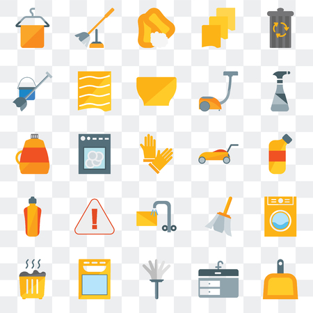 Set Of 25 transparent icons such as Dustpan, Sink, Feather duster, Dishwasher, Waste, Cleaning spray, Lawn mower, Soak, Mop, Soap, Toilet brush, web UI transparency icon pack