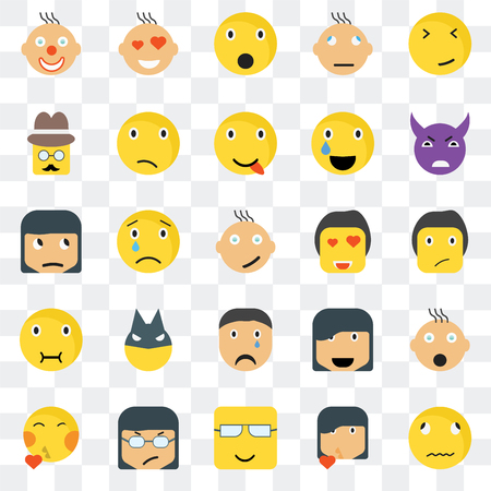 Set Of 25 transparent icons such as Sick smile, Ti Evil Love Kiss Confused Happy Sceptic web UI transparency icon pack, pixel perfect 일러스트