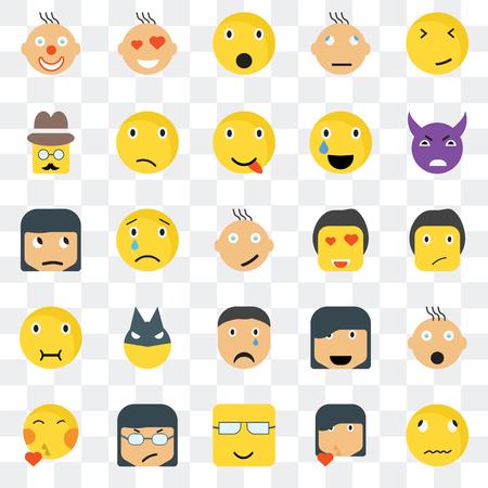 Conjunto de 25 iconos transparentes como Sick smile, Ti Evil Love Kiss Confused Happy Skeptic web UI transparencia paquete de iconos, pixel perfecto