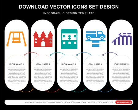 5 vector icons such as Hook, Bouncy castle, Playground, Simulator, Roller coaster for infographic, layout, annual report, pixel perfect icon