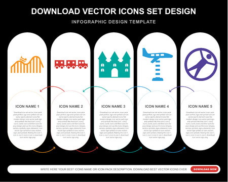 5 vector icons such as DUNK, Sports ball, Bouncy castle, Ride, Zorbing for infographic, layout, annual report, pixel perfect icon Illustration