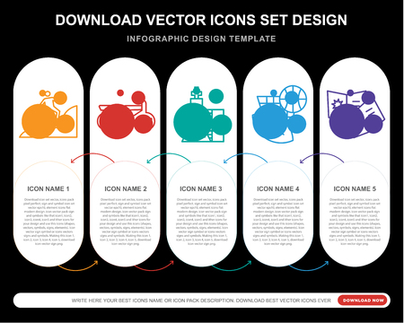5 vector icons such as Climb, Motorcycle, Chess, Sports, Comic for infographic, layout, annual report, pixel perfect icon