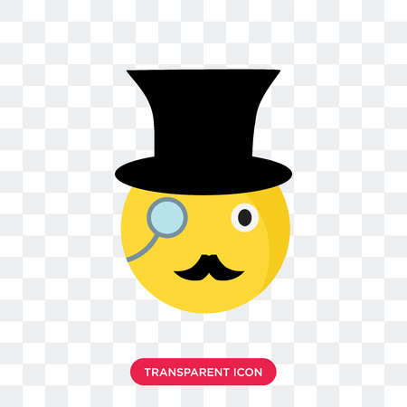 Gentleman smile vector icon isolated on transparent background, Gentleman smile logo concept